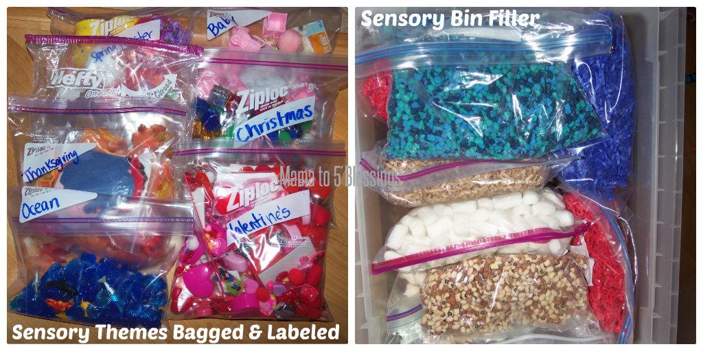 sensory bin organize