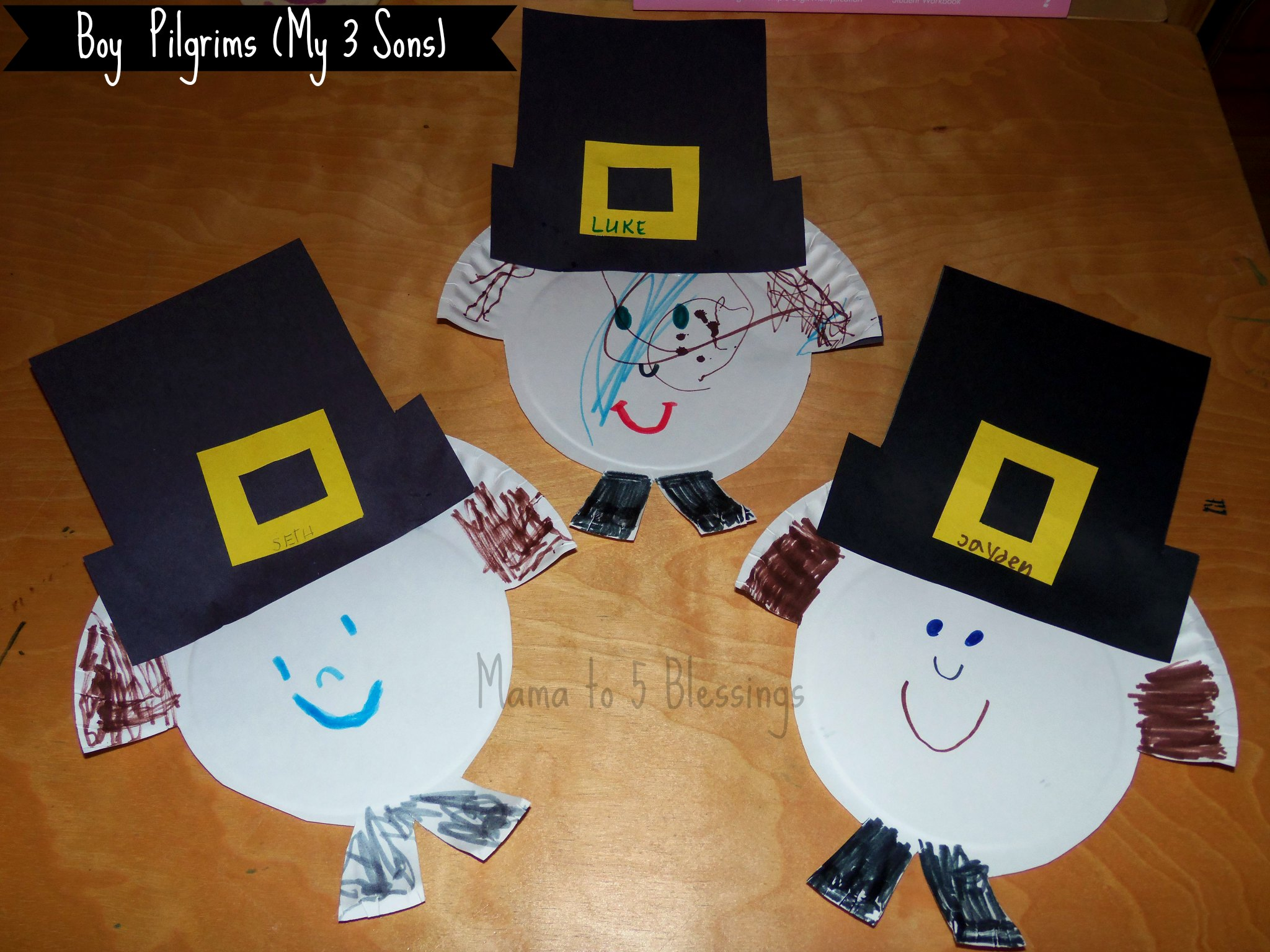 boy paper plate pilgrims & Paper Plate Pilgrim Craft (Learn \u0026 Link With Linky) - Mama to 6 ...