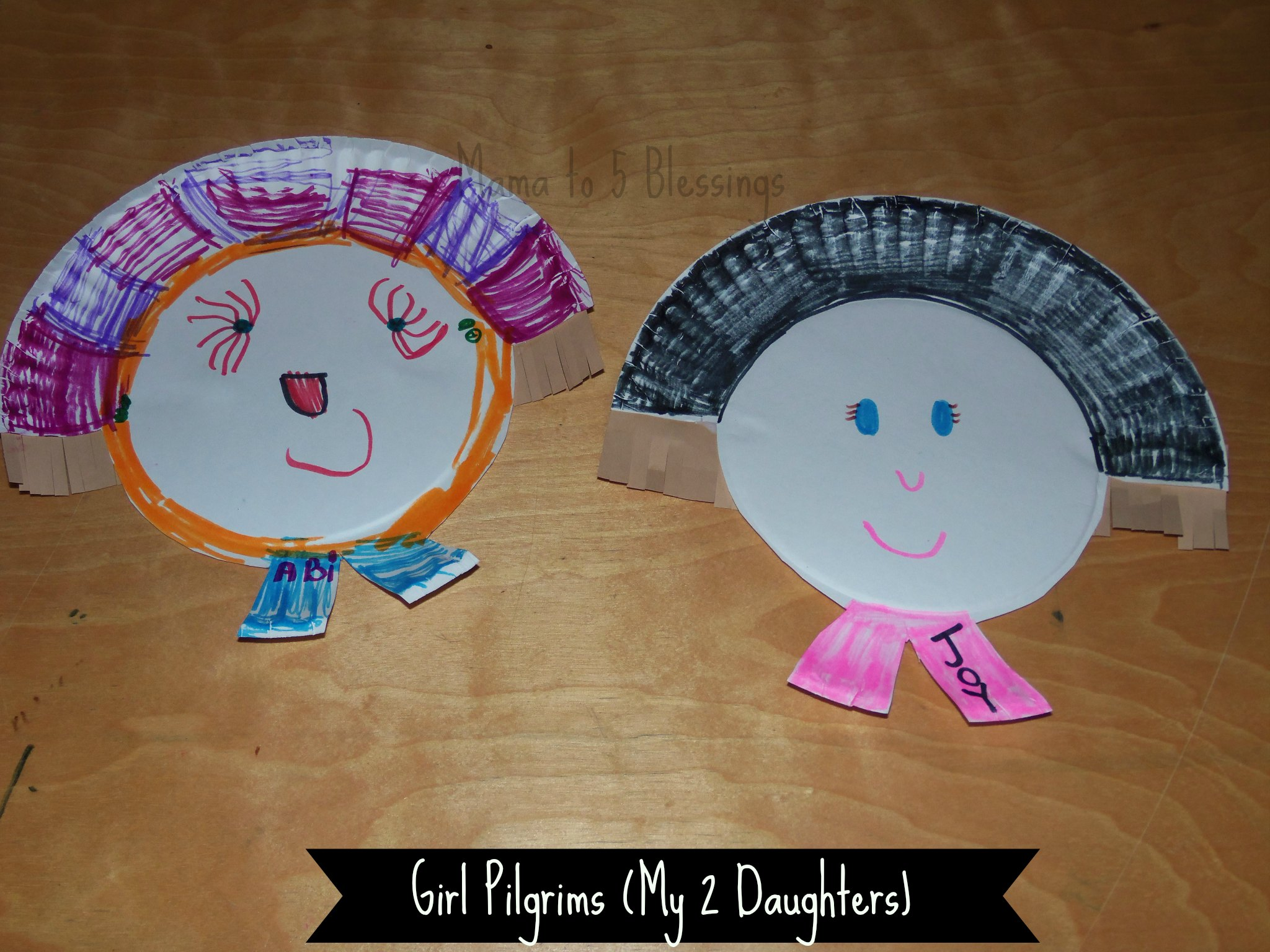 paper plate girls & Paper Plate Pilgrim Craft (Learn u0026 Link With Linky) - Mama to 6 ...