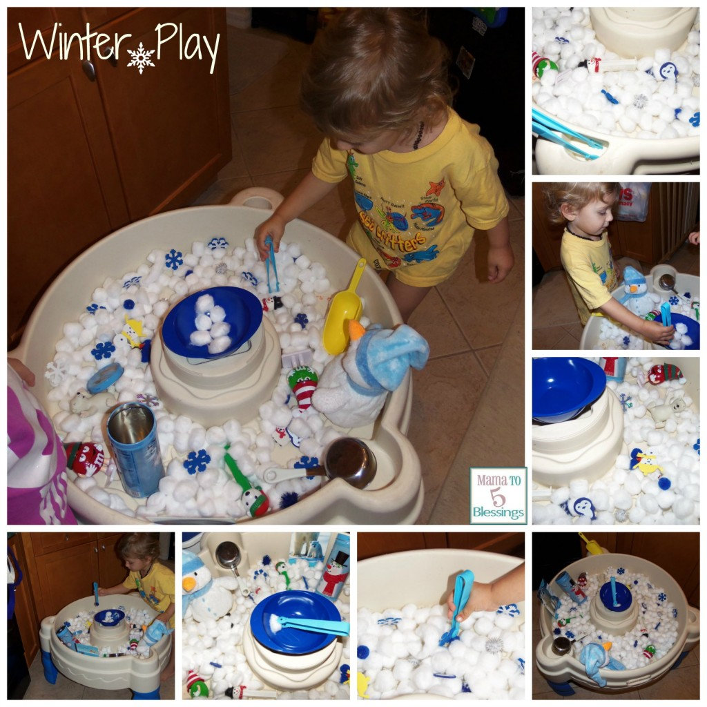winter play sensory table collage