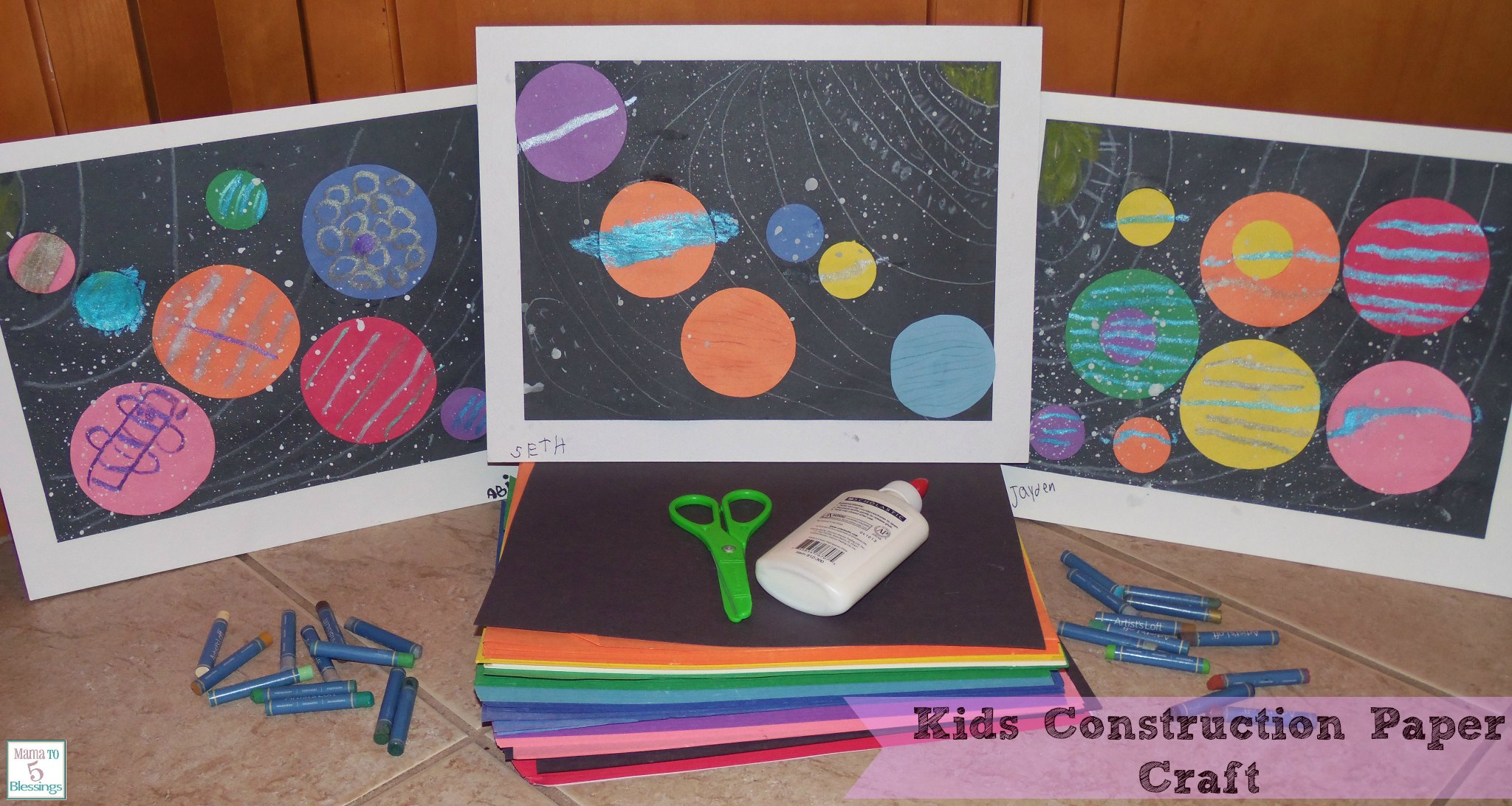 kids construction paper craft - learn & link with linky - mama to 6