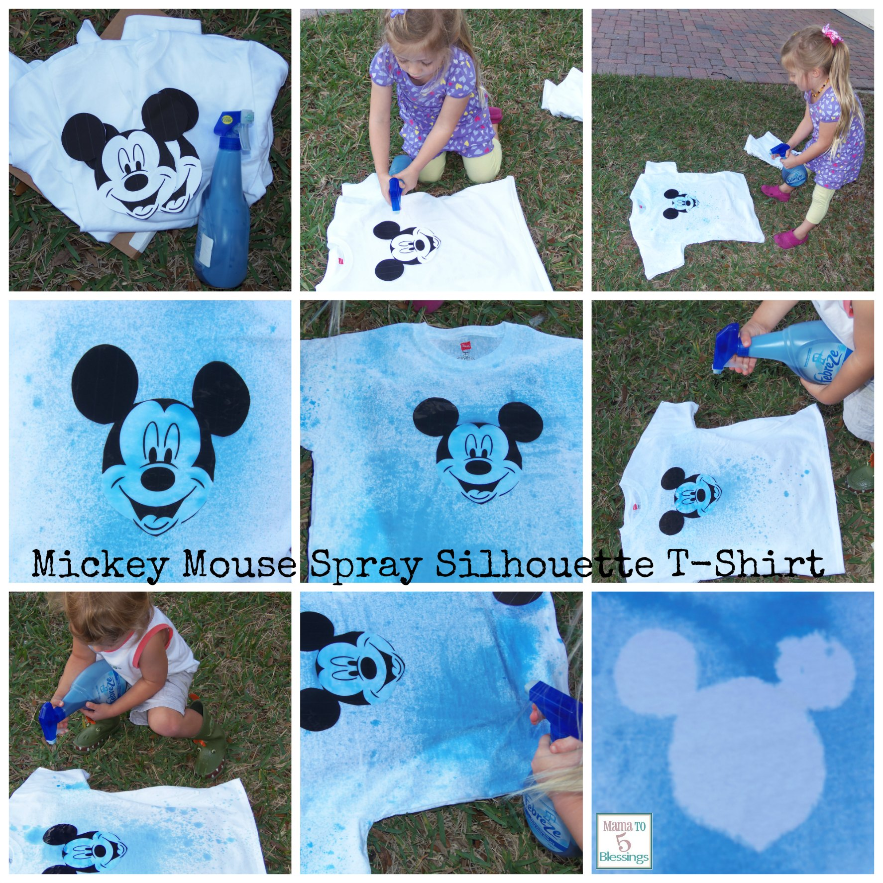 mickey mour spray collage t-shirt