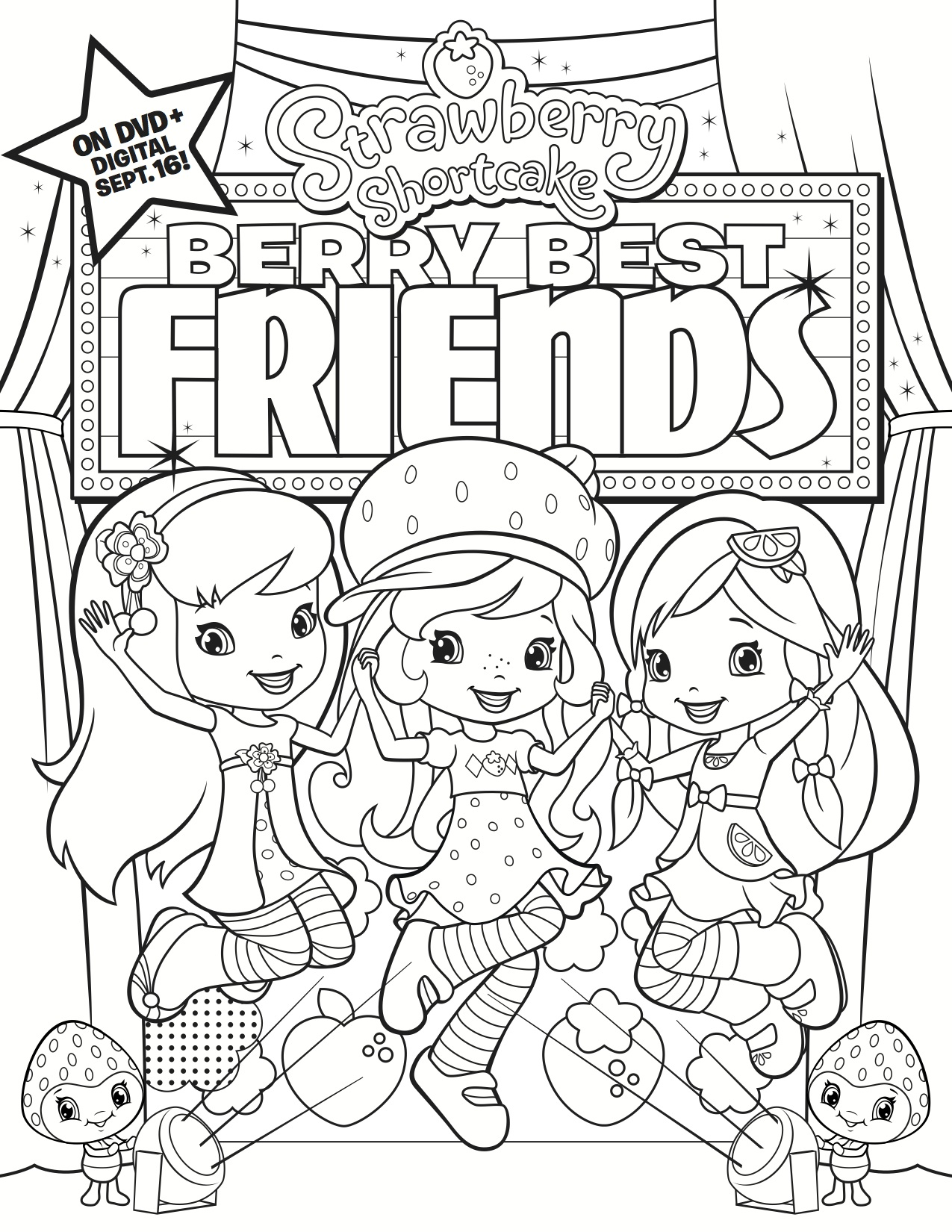 coloring pictures of strawberry shortcake best friends