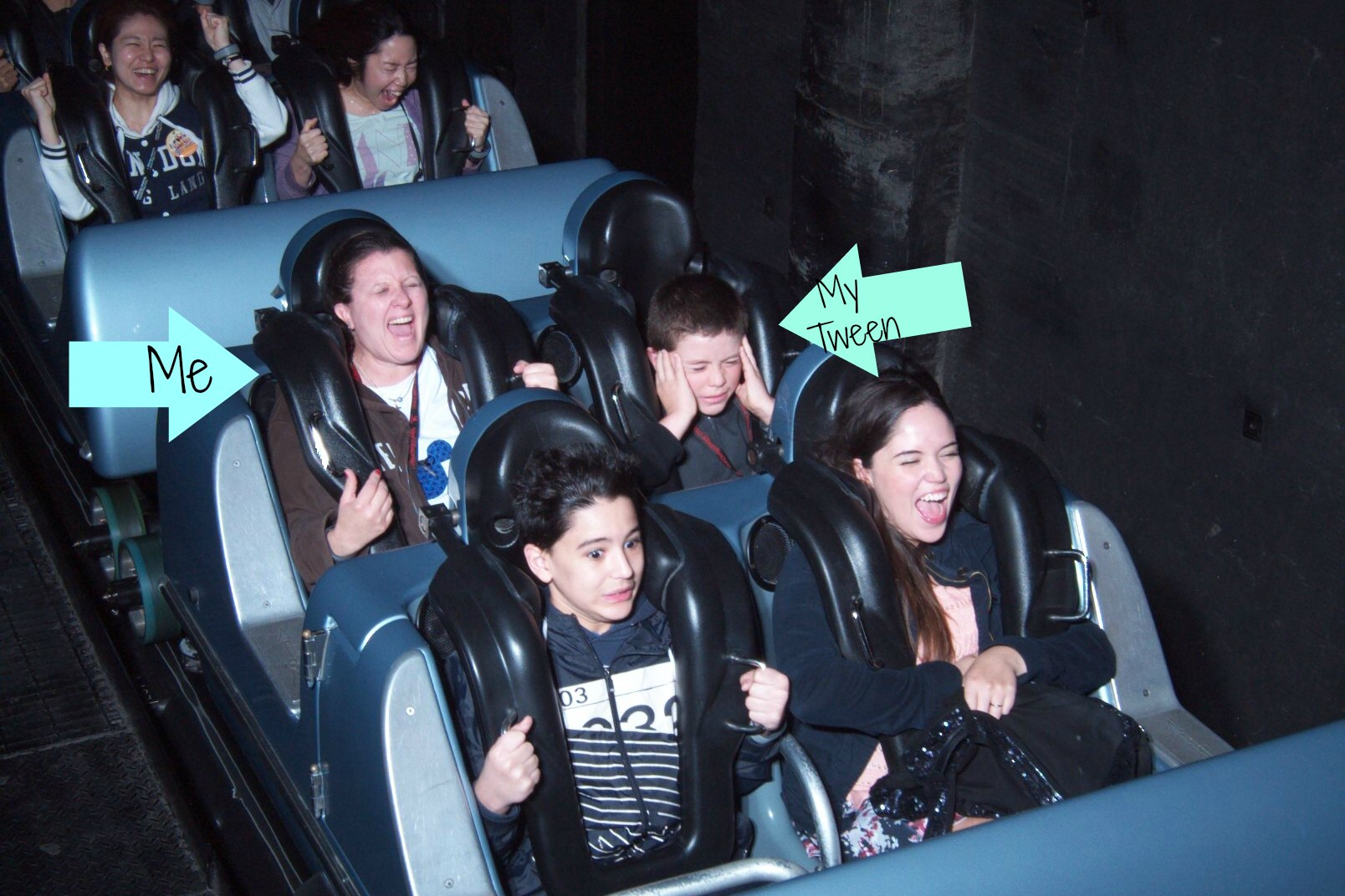 Priceless! Love our expressions on The Rock 'n' Roller Coaster