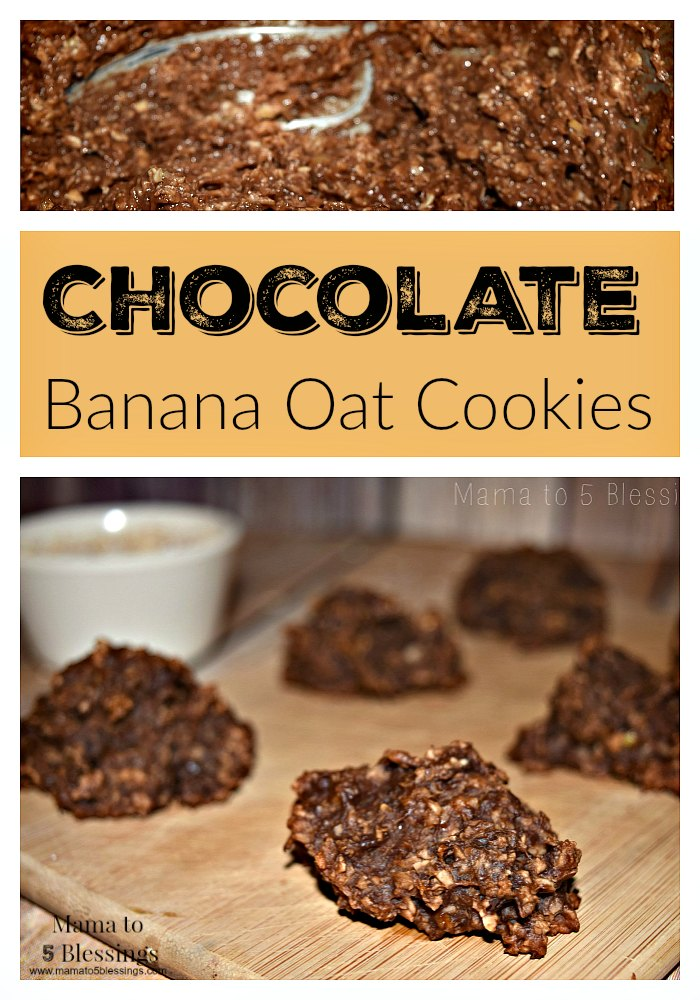 chocolate banana oat cookies pin