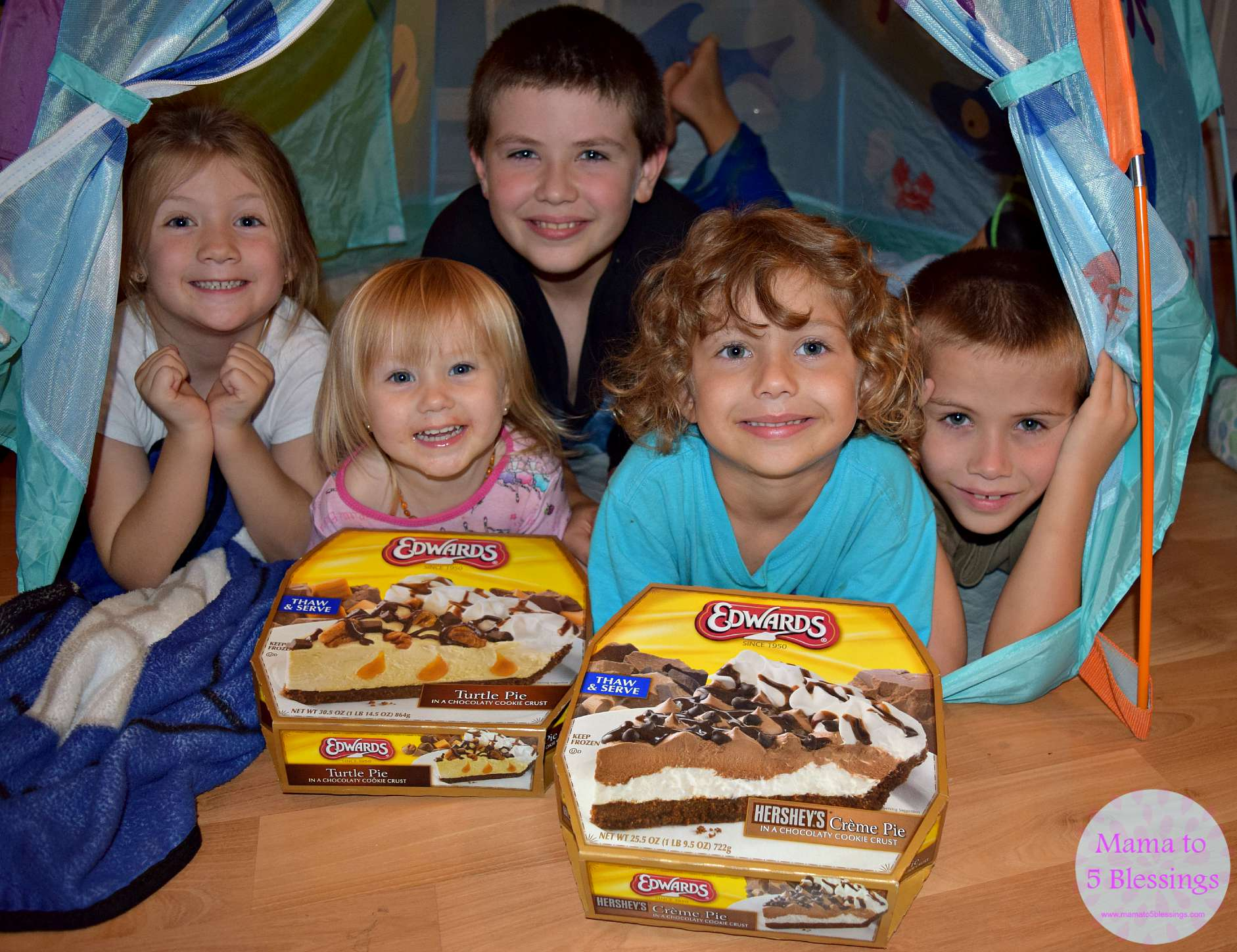 kids in tent with pies