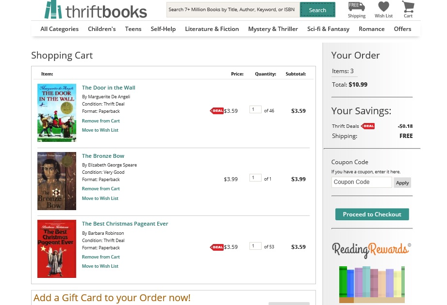 thriftbooks shoping cart