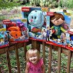 playskool toys with Joy outside