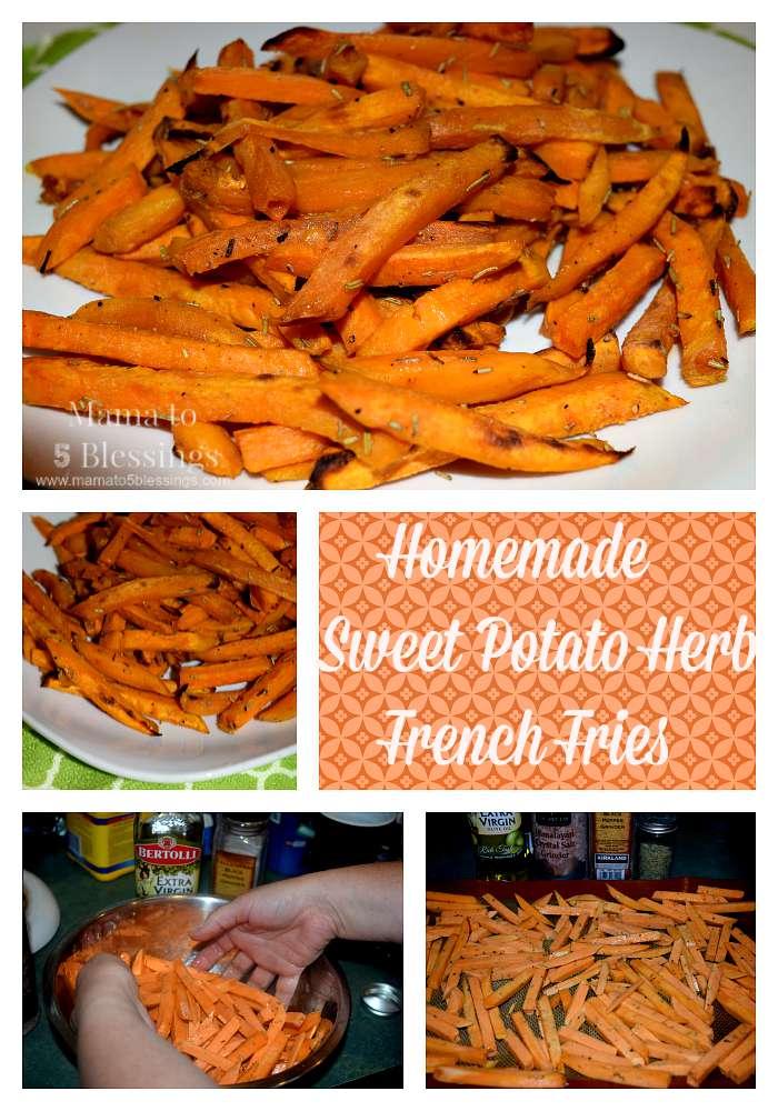 sweet potato fry collage