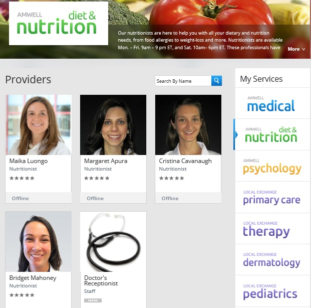 amwell nutrtion doctors