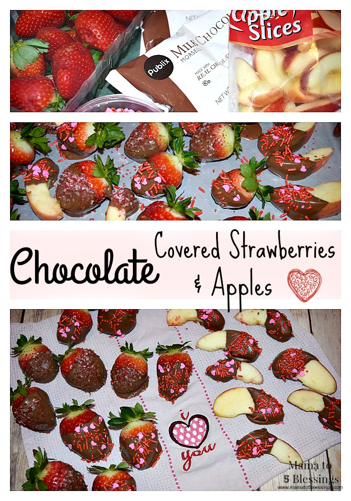 chocolate covered strawberries  and apples