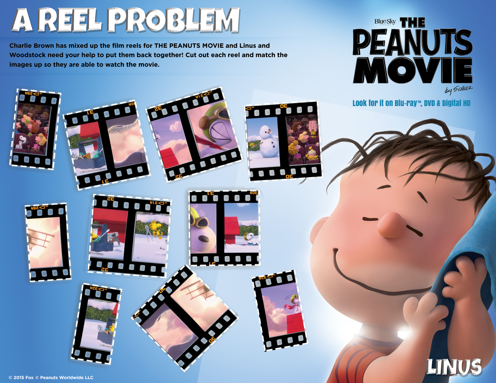 peanuts movie reel printable