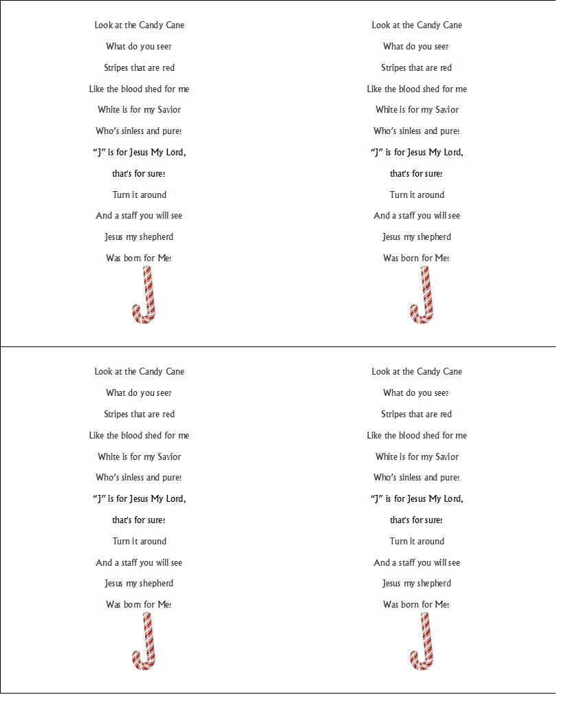 picture relating to Candy Cane Poem Printable referred to as Xmas Sweet Cane Poem