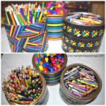Recycled Tin Can Art Supply Organizers